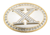 Initial Belt Buckle X US American Alphabet Mirror Finished Oval Unisex Metal New