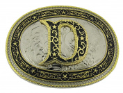 Initial Belt Buckle D US American Alphabet Vintage Finished Cowboy Western Style