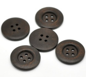 10 Pieces Dark Coffee 4 Holes Wooden Buttons Sewing Buttons for Sweater Overcoat Clothing 35mm
