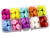 Summer-Ray 200pcs Assorted Colour 15mm 2-eyed Buttons In Storage Box