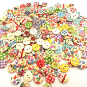 Liangxiang 15mm Mixed Random Round Pattern 2 Holes Wood Buttons Sewing Handcraft DIY Decor Pack of 100pcs
