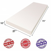 """Upholstery Foam Cushion Sheet- 1.3cm x 70cm x 75""""-High Density Support-Premium Luxury Quality- Good for Sofa Cushion, Mattresses, Wheelchair, Poker Table, and Much More- by Dream Solutions USA"""