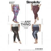 Simplicity Pattern 8327 A Women's Plus Spandex Knit Leggings with Length Variations, Size 1X-5X
