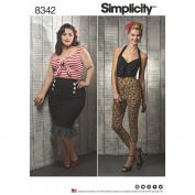 Simplicity Pattern 8342 BB Misses' & Women's Rockabilly Knit Tops, Cropped Pants, & Skirts, Size 20-22-24-26-28W