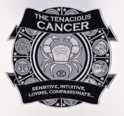 Astro-Patch - The Tenacious Cancer - 13cm X 14cm (approx.) Iron-On/Sew-On Astrological Patch. Its Reflective Silver Metallic Design, Gives It A Trendy Look Of Class And Sophistication. Zodiac