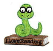 DKAORU Bookworm - Reading - School - Book - Embroidered Iron On Applique Patch Happy crafting