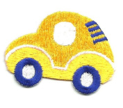 DKAORU CAR CHILDRENS YELLOW EMBROIDERED IRON ON APPLIQUE/PATCH Happy crafting