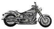 DKAORU Motorcycle - Black & Silver - Embroidered Iron On Patch Happy crafting