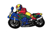 DKAORU Motorcycle Racer Embroidered Iron On Patch Happy crafting