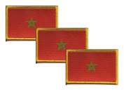 PACK of 3 Morocco Flag Patches 8.9cm x 5.7cm , Moroccan Embroidered Iron On or Sew On Flag Patch Emblem
