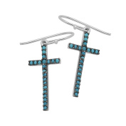 925 Sterling Silver CZ Fishhook Earrings Cross Design with Round Simulated Turquoise CZ Accent