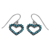 925 Sterling Silver CZ Fishhook Earrings Open Heart Design with Round Simulated Turquoise CZ Accent