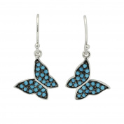 925 Sterling Silver CZ Dangling Fishhook Earrings Butterfly Design simulated Turquoise CZ Accent
