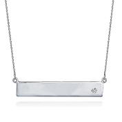 Horizontal Bar Pendant Necklace .925 Sterling Silver CZ Silver Link Chain 41cm - 46cm GIFT Box