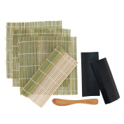 BambooMN Brand - 4x Green Bamboo Sushi Rolling Mats, 2x Sushi Plates + Spreader Set