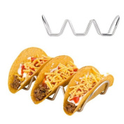 Stock Show Stainless Steel Wire Triple Taco Holder Tortillas Rack Mexican Food Display Hot Dog Stand Bread Basket, Pack of 2