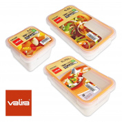 Valira Nomad - Set of 3 Containers Lunch 100% High Quality, Ceramic Airtight Plastic Spare Parts Range Nomad Collection, Measures 0.75L + 0.5L + 0.4L, White
