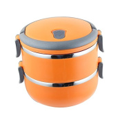 FG.X.YL Stainless Steel Creative Keep-Warm Lunch Boxes Lid Sealed Leakproof Students Can Group Layer Portable Multi-Tier Bento Boxes Cartridge Compartment ,Orange,Double