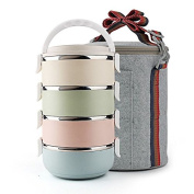 FG.X.YL Stainless Steel Long Warm Lunch Boxes Multi-Layer Can Be Classified Grid Bento Boxes Will Join Hands To Students Tableware Inner Pot ,4Layer+Cooler Bags