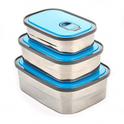 FG.X.YL Rectangular Stainless Steel Boxes 3 Piece Set Instant Noodle Bowl Bento Boxes With Cover Sealed Preservation Of Cartridge ,Blue