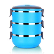 FG.X.YL Stainless Steel Colourful Warm Lunch Boxes Combination Of Multi-Tier Students Children Workers Available ,Sky Blue,Layer 3