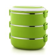 FG.X.YL The Keep-Warm Lunch Boxes304Stainless Steel Multi-Tier-Egg Lunch Boxes Sealing Creative Lunch Boxes Multi-Colour Green 3-Layer,Green 3-Layer