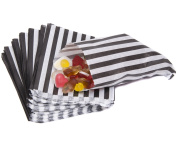 "Black Candy Stripe Paper Bags 125mm x 175mm - 5"" x 7"" Pack of 100"