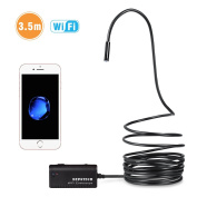 HD Endoscope, Depstech® UPGRADED Wifi Endoscope Borescope Inspection Camera 2.0 Megapixels HD Snake Camera for iPhone 7 / 7 Plus 6s/6s Plus, Samsung Galaxy s7 edge s6 Smartphone, Tablet - Black