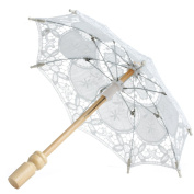 MEXUD Lace Embroidered Parasol Umbrella For Bridal Wedding Party Decoration
