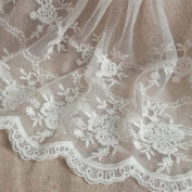 White 3 Yards Retro Floral Embroidered Mesh Lace Fabric Wedding Bridal Veils Craft Scalloped Trim Lace for DIY Dress 20cm Width