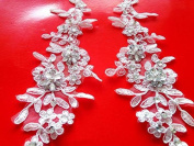 Hand Made Crystal Sequins Patches 28X9cm Sew on Rhinestones Ivory Lace Applique for Dress DIY Accessories