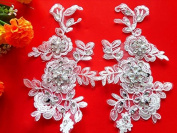 Hand Made Crystal Sequins Patches 23X13cm Sew on Rhinestones Ivory Lace Applique for Dress DIY Accessories