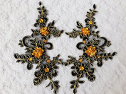 Handmade Black Sew on Crystal Patches Sequins Rhinestones Lace Applique 23X10cm for Top Dress Skirt