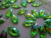 Sew on Rhinestones Green AB Colour Stones Acrylic Crystal 6x12mm Navette Shape Flatback Strass Diamond Gemstone 300pcs
