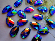 150pcs 11X18mm Water Drop Shape Stone Sew on Crystals Dark Blue AB Colour Rhinestones Accessories for Hand Sewing Gem Stones
