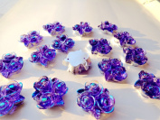 50pcs 20mm Rose Flower Shape Sew on Purple Rhinestones Resin Crystals Flatback Big Gem Stone Stass 2 Holes