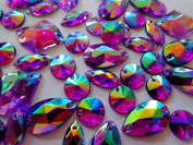 300pcs Mixed Shape Size Purple AB Colour Crystal Sew on Rhinestones Acryl Loose Beads Hand Sewing Strass