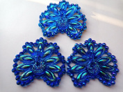 48x42mm Peacock Shape Sew on Rhinestones Deep Blue Resin Crystals Flatback Big Gem Stone Stass 15p0cs
