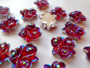 50pcs 20mm Rose Flower Shape Sew on Red Rhinestones Resin Crystals Flatback Big Gem Stone Stass 2 Holes