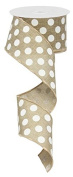 Polka Dot Wired Edge Ribbon (6.4cm , Beige White) - 10 Yards : RG0120701