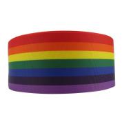 7.6cm Wide 5 Yard DIY Fashion Rainbow Colour Printed Linen Ribbon For DIY Handmade Hair Bow Clip Accessories And Festival Wedding Party Birthday Bridal Shower Decoration