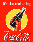 Large Coke Coca Cola Real Thing Vintage Retro Metal Tin Wall Plaque Sign 1053