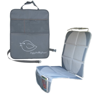 Child Car Seat Protector Makes Cleaning Up Your Car Easier! Included Kick Mat Organiser Allows Easy Access to Baby Items! Thick Padding Preserves Upholstery to Retain Value of Vehicle! (Grey)