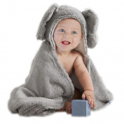 BabyPlix Grey Carton Elephant Baby Hooded Cotton Plush Towel 75x75cm for Newborn Toddler