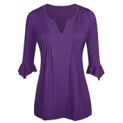 ShenLiNan Womens V Neck Pleated 3/4 Flutter Sleeve Tunic Tops