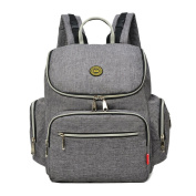 YuHan Oxford Baby Nappy Backpack Nappy Bag Change Pad Insulation Bag Fit Stroller Grey