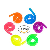 6 Neon Stretch Strings For ADD / ADHD Stretch Toy Stress Reliever Fidget Toy Sensory Toys - Stretches From 33cm To 3m Long!