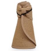 OULII Women Foldable Roll Up Wide Brim Bowknot Summer Beach Sun Visor Straw Hat Cap