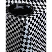Creative Converting Plastic Banquet Table Cover, Black Cheque