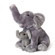 Mom And Baby Elephants Plush Toys 2 Stuffed Elephants 28cm and 14cm By Hands On Learning - Super Soft Stuffed Mom and Calf - Stuffed Animals - Animal Themed Party Accessory - Educational Toy